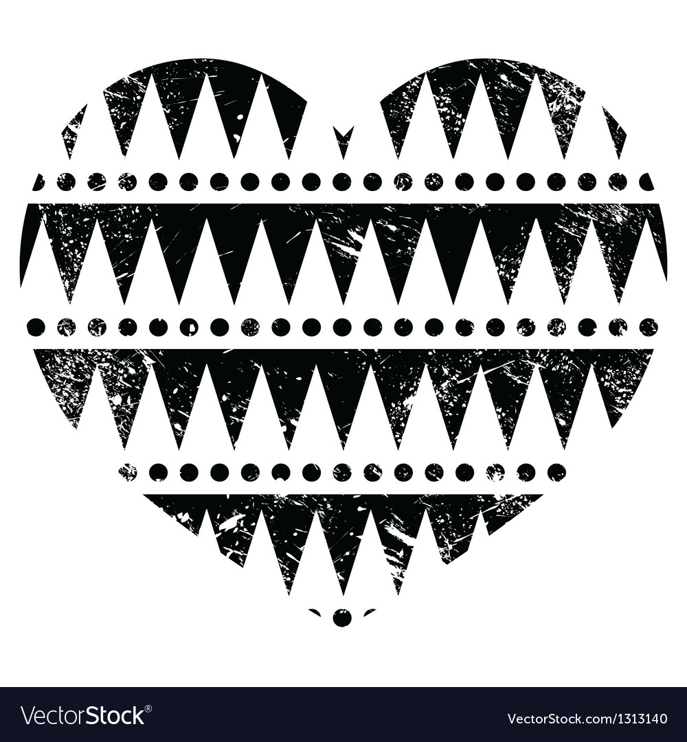 Aztec tribal pattern heart - retro grunge style vector | Price: 1 Credit (USD $1)