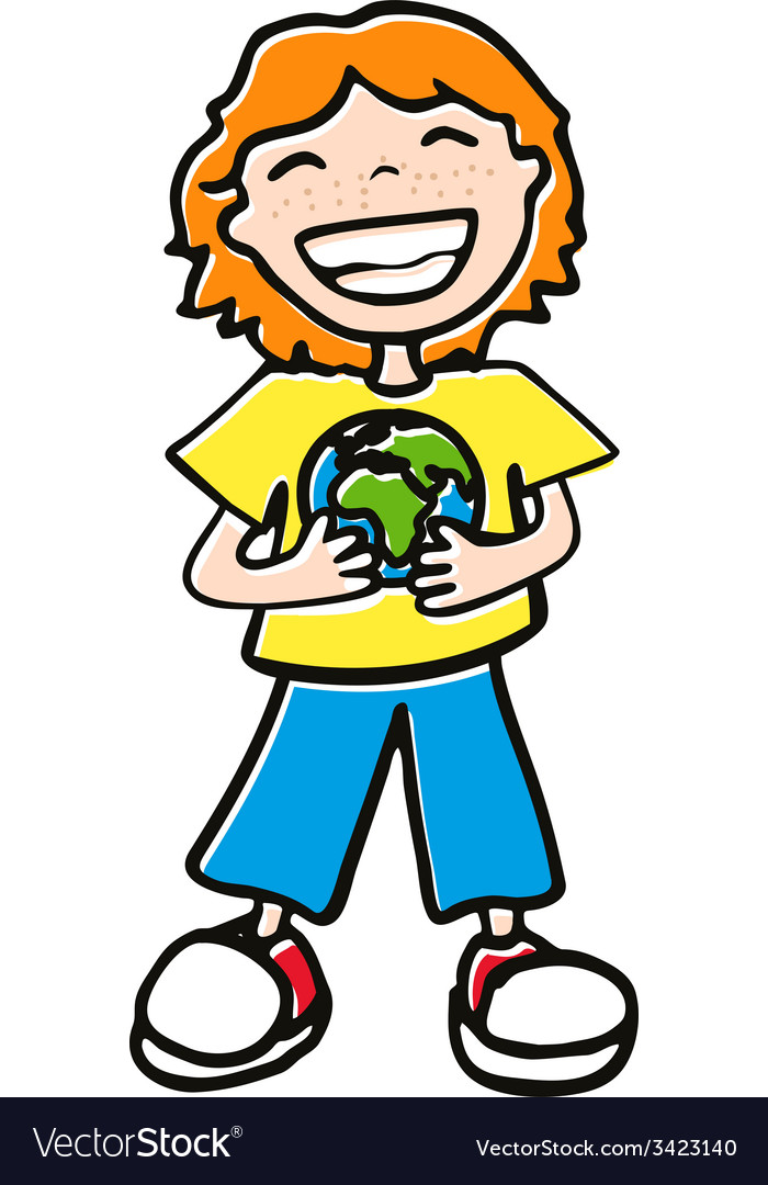 Boy holding a globe vector | Price: 1 Credit (USD $1)