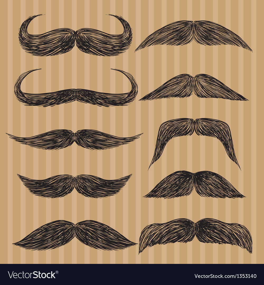 Different types of mustaches retro style vector | Price: 1 Credit (USD $1)