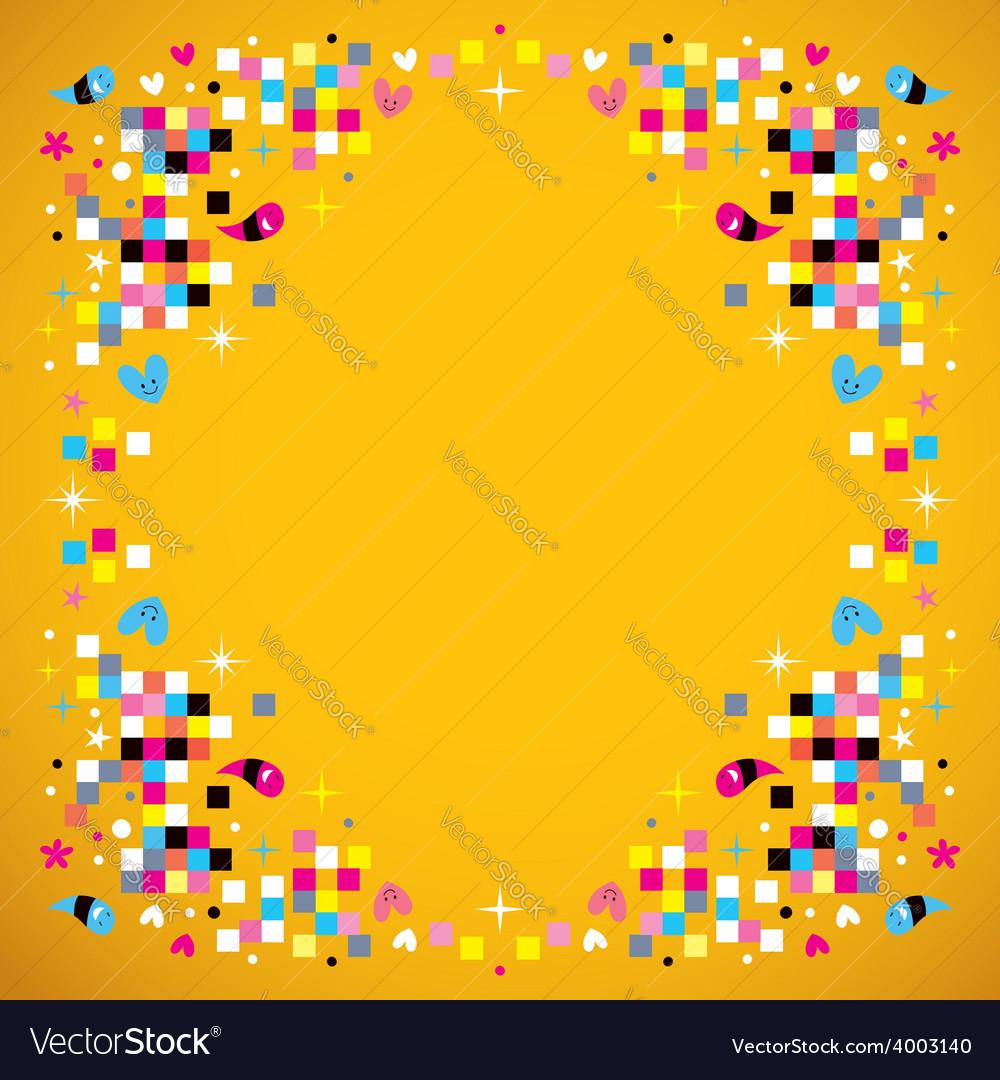 Fun pixel squares frame border background vector | Price: 1 Credit (USD $1)