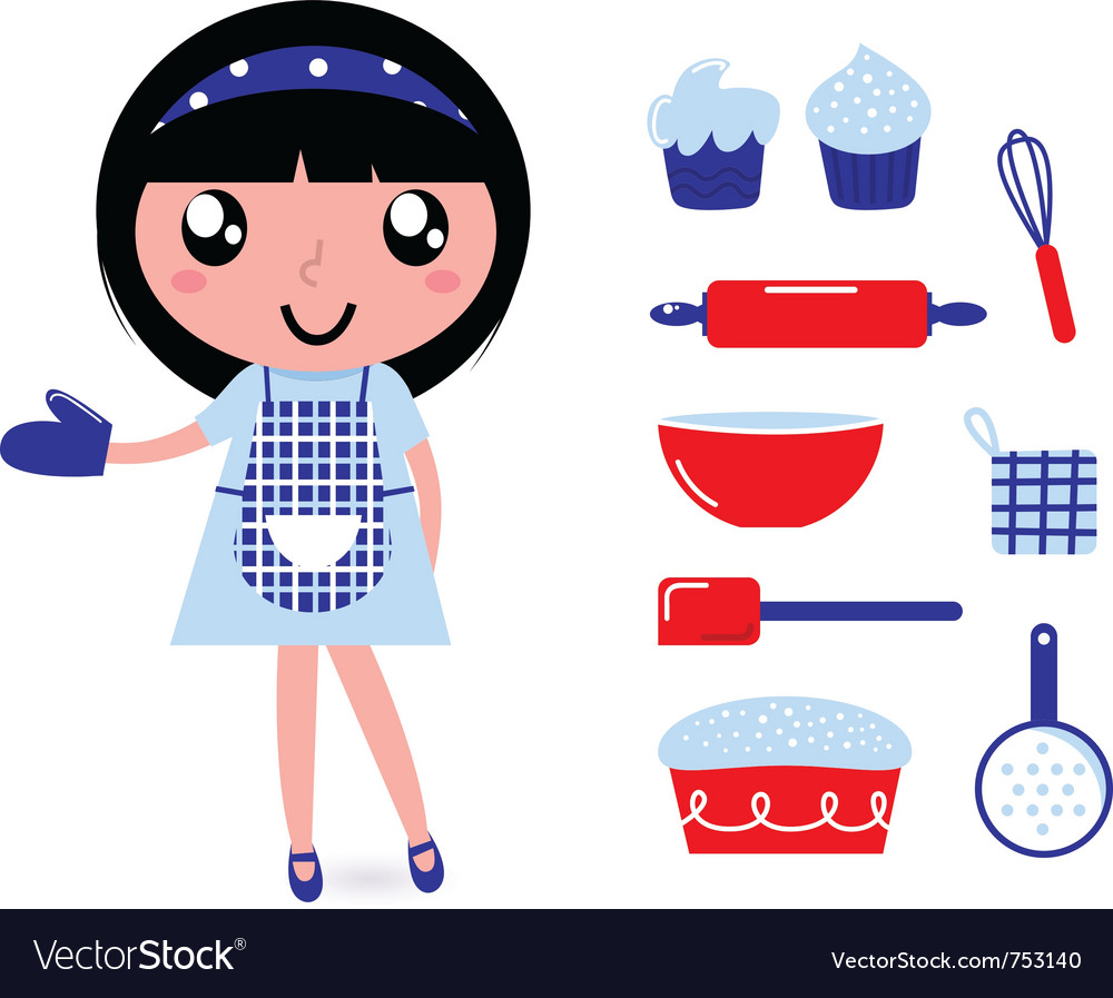 Girl with kitchen accessories vector | Price: 1 Credit (USD $1)