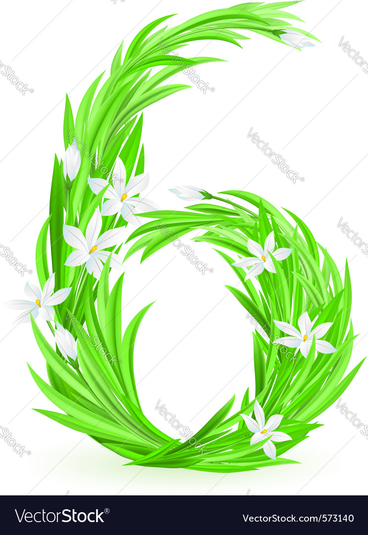 Grass letters number 6 vector | Price: 1 Credit (USD $1)