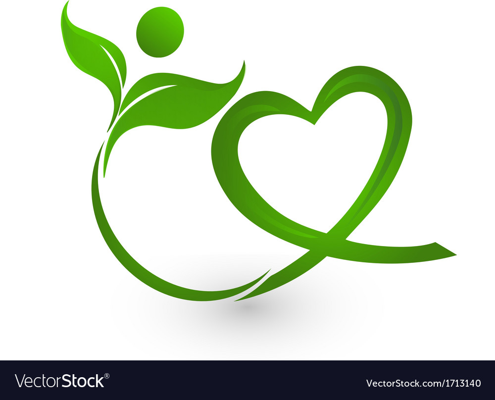 Healthy leafs with heart shape logo vector | Price: 1 Credit (USD $1)