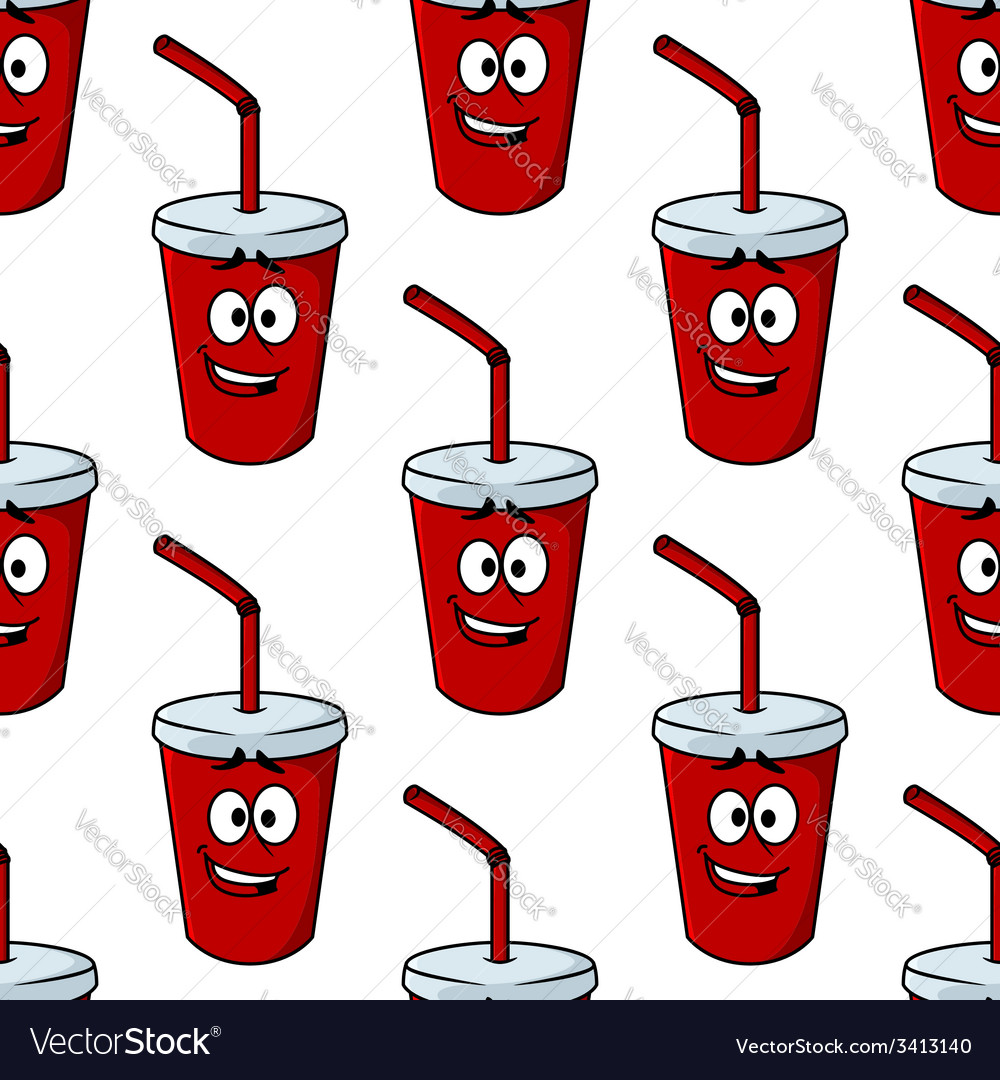 Seamless pattern of a takeaway beverage vector | Price: 1 Credit (USD $1)
