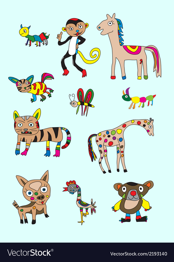 Set animal naive vector | Price: 1 Credit (USD $1)