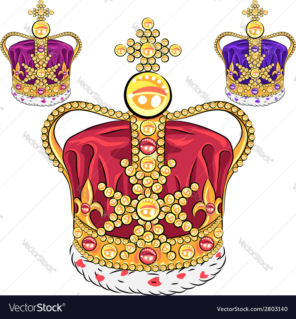 Set gold crown vector | Price: 1 Credit (USD $1)