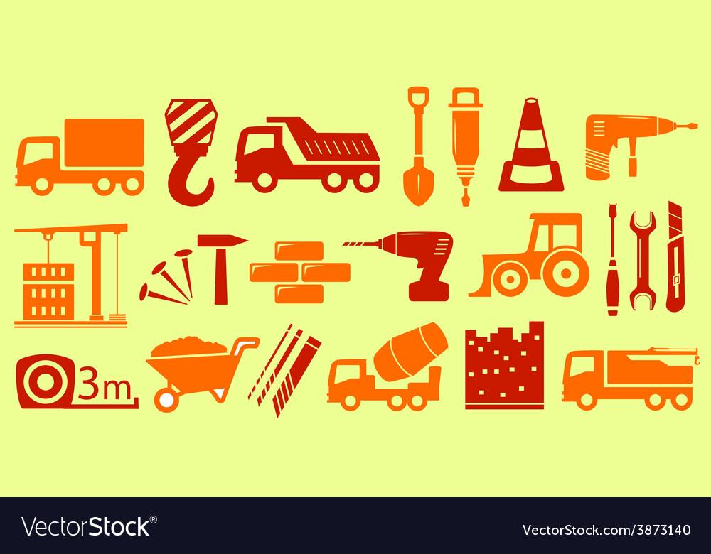 Set isolated object for construction industry vector | Price: 1 Credit (USD $1)