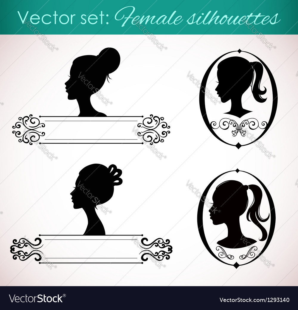 Set of female silhouettes in retro style vector | Price: 1 Credit (USD $1)