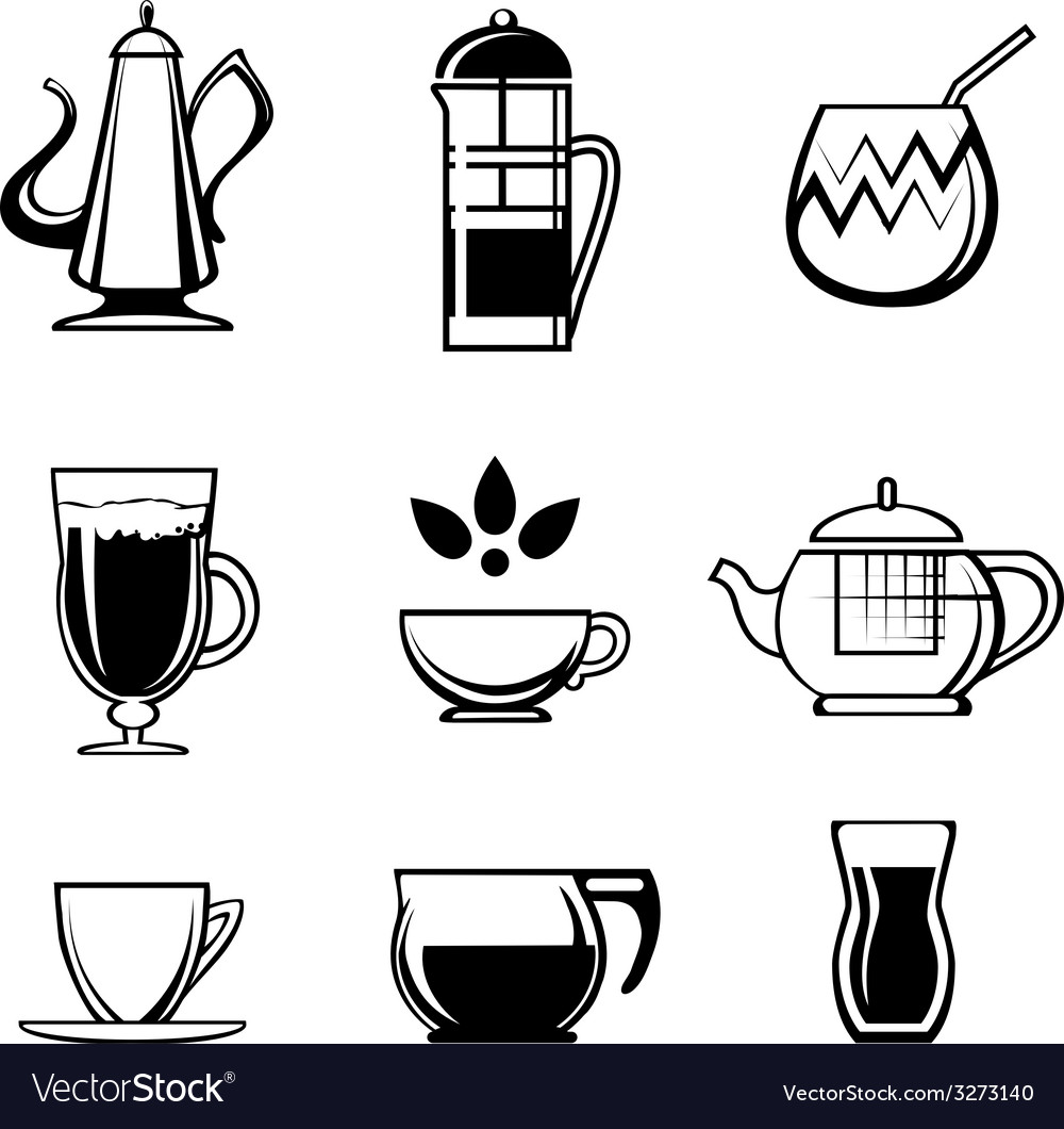 Tea coffee or chocolate drink icons vector | Price: 1 Credit (USD $1)