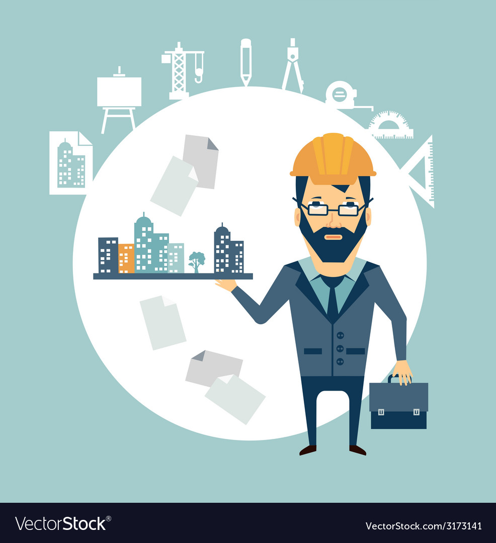 Architect holding a model of the city in the palm vector | Price: 1 Credit (USD $1)