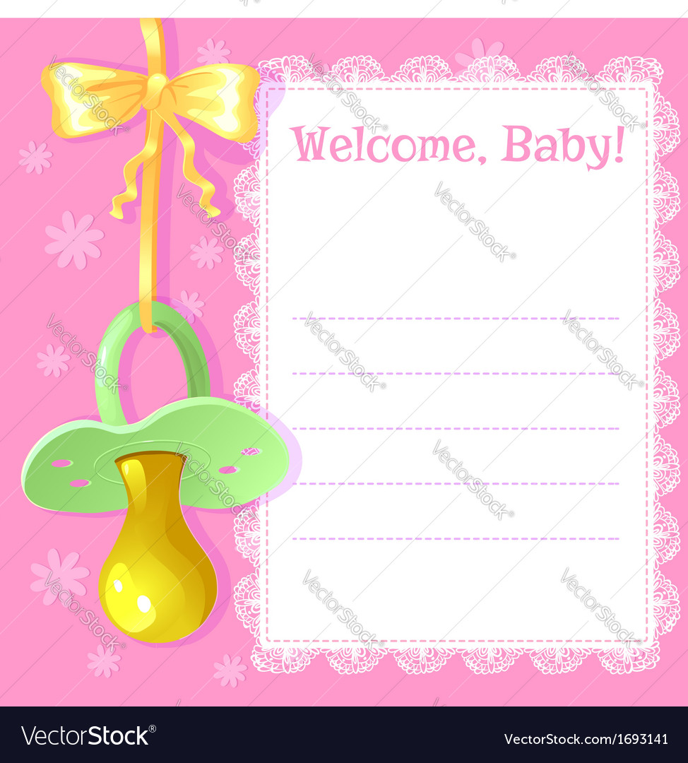 Baby greetings card with pacifier vector | Price: 1 Credit (USD $1)