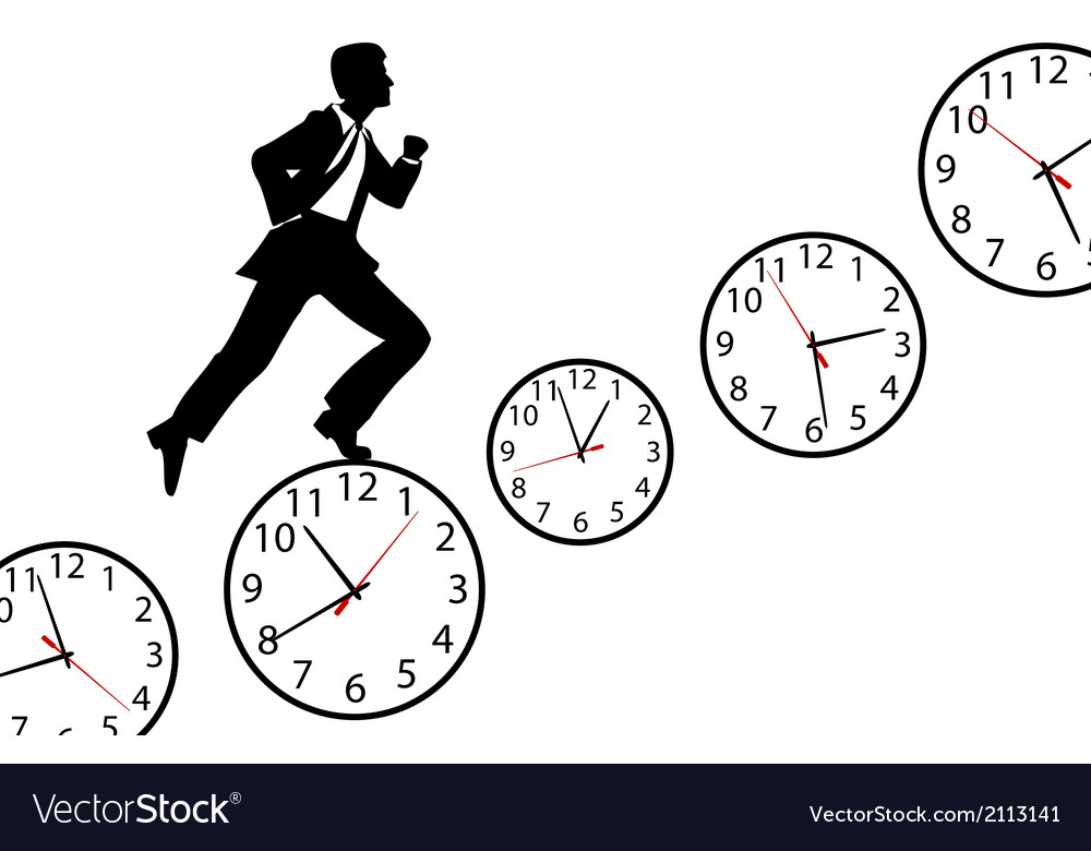 Busy man hurry up work day clock vector | Price: 1 Credit (USD $1)