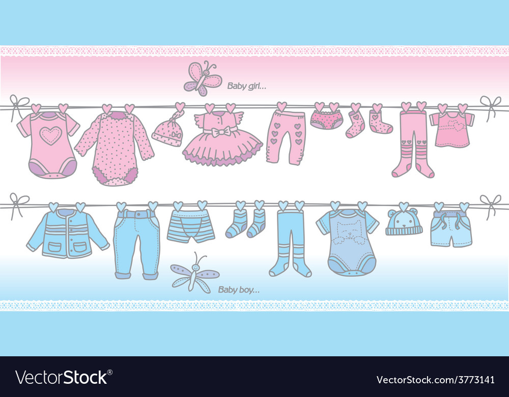 Clothing baby boy and baby girl vector