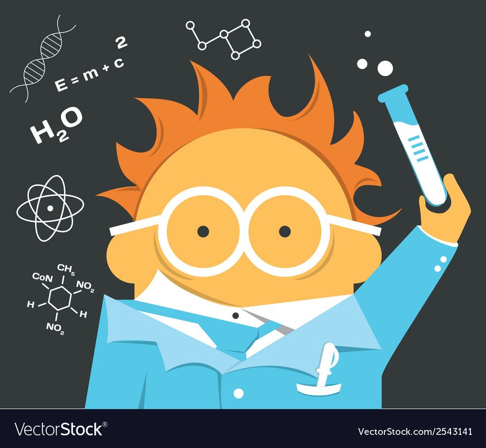 Crazy scientist in glasses with a bulb vector | Price: 1 Credit (USD $1)
