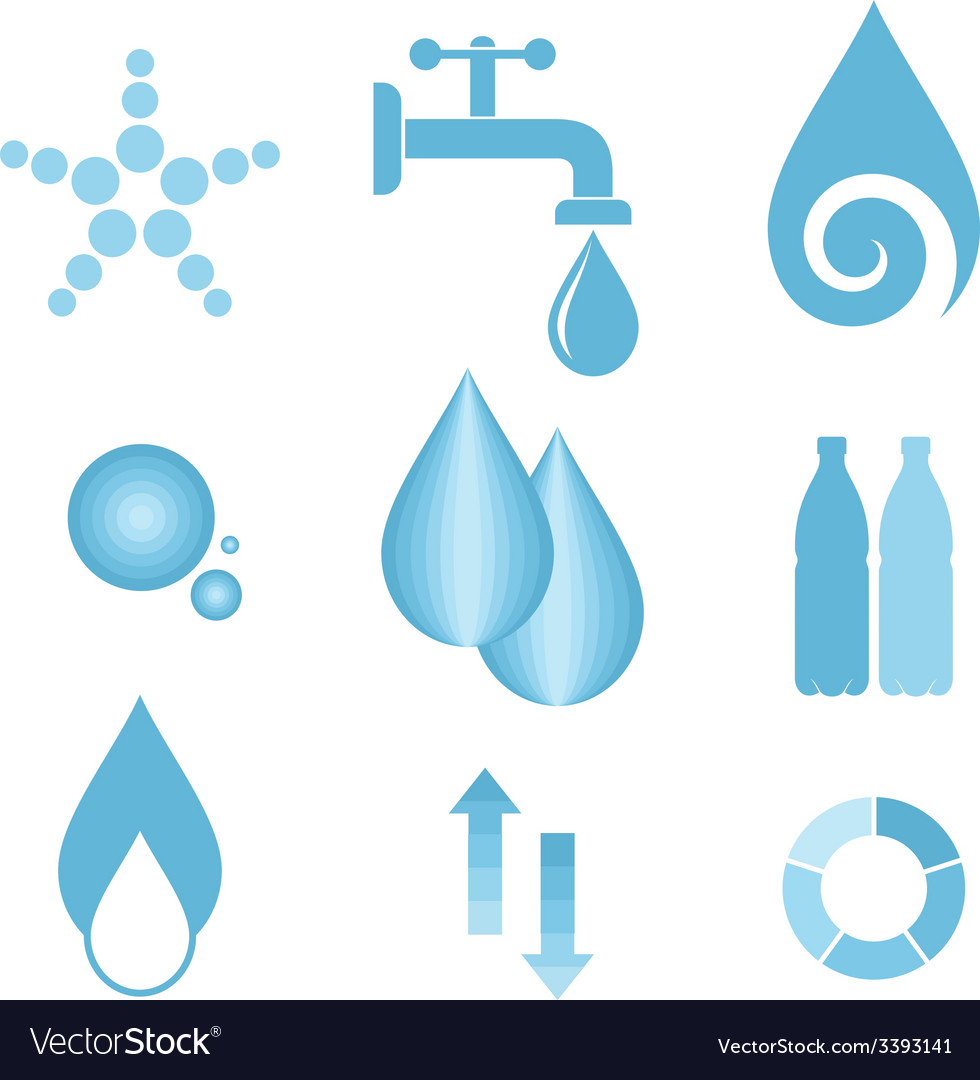 Water icon set vector | Price: 1 Credit (USD $1)