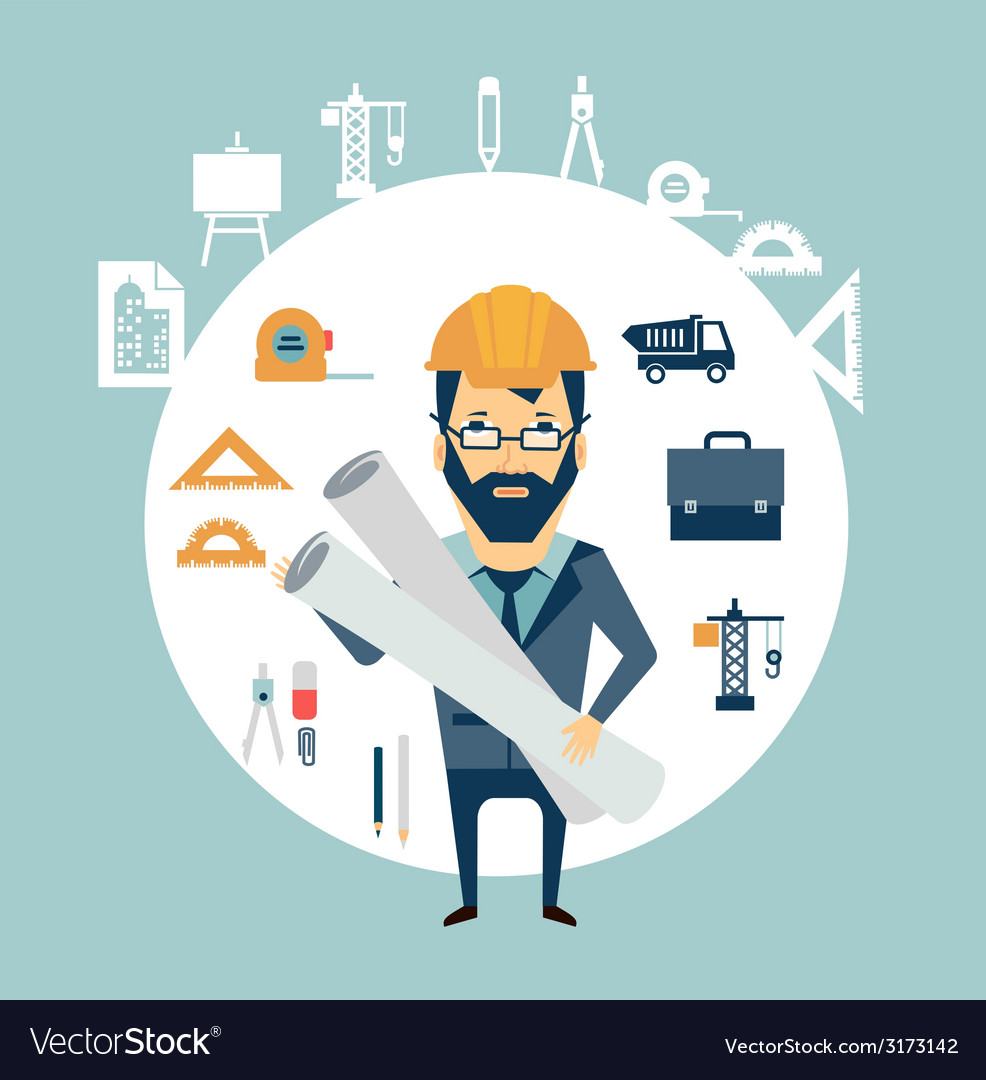 Architect holding blueprints vector | Price: 1 Credit (USD $1)