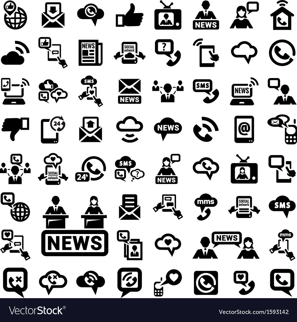 Big communication icons set vector | Price: 1 Credit (USD $1)