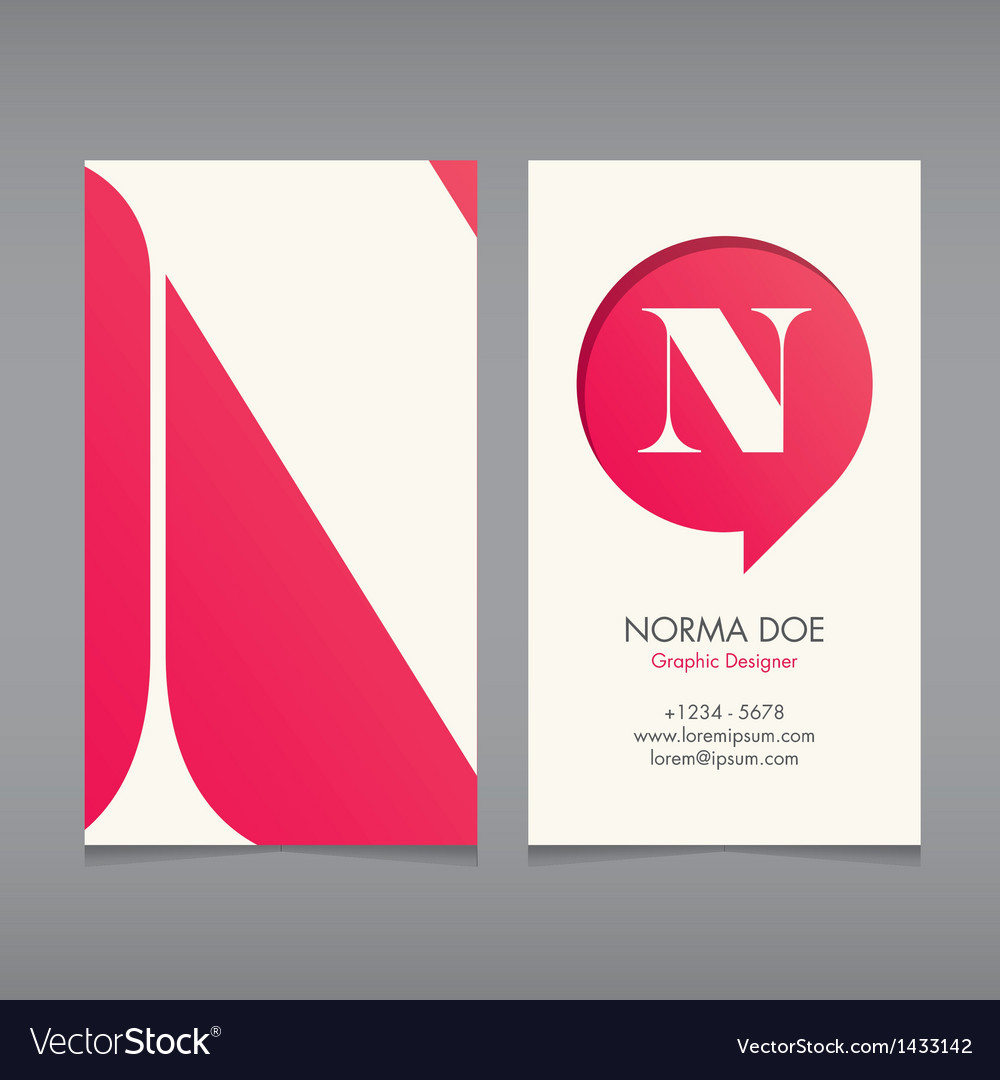 Business card template letter n vector | Price: 1 Credit (USD $1)