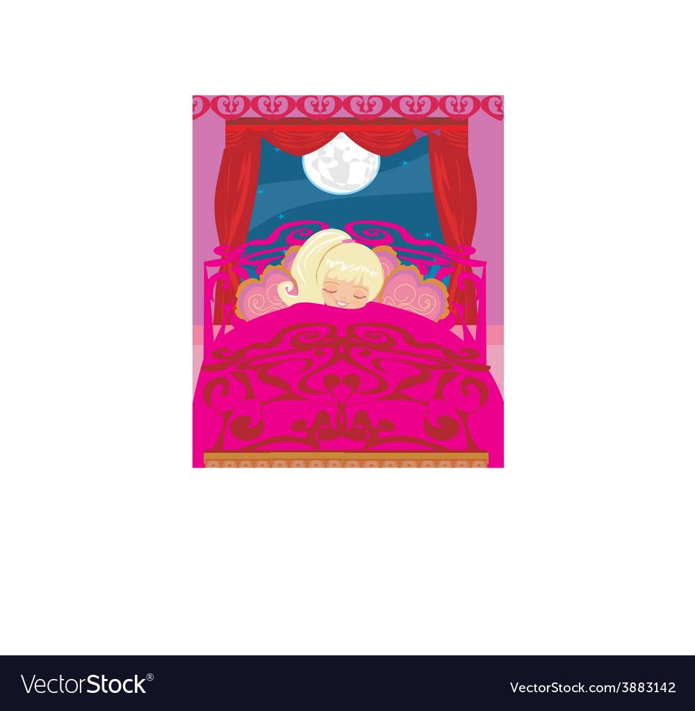 Girl sleeping in his bedroom vector | Price: 1 Credit (USD $1)