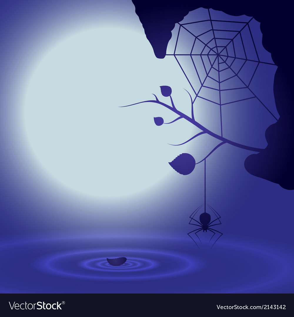 Halloween background with full moon and spider vector | Price: 1 Credit (USD $1)