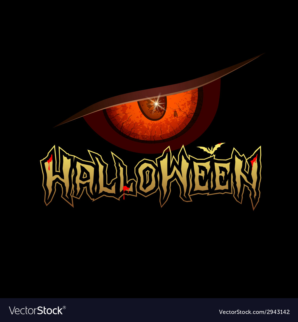 Halloween red eye design background vector | Price: 1 Credit (USD $1)