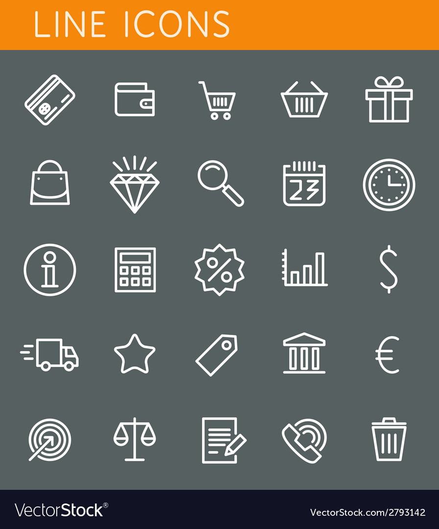 Line icons set shopping and sale objects web vector | Price: 1 Credit (USD $1)