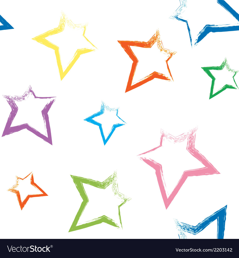 Seamless pattern with brush painted stars vector | Price: 1 Credit (USD $1)