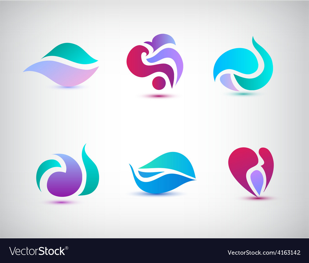 Set of abstract floral icons vector   Price: 1 Credit (USD $1)