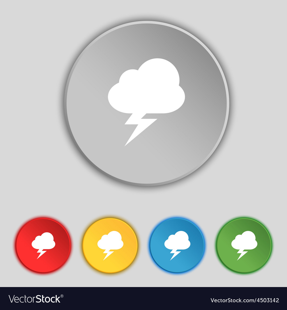 Storm icon sign symbol on five flat buttons vector | Price: 1 Credit (USD $1)