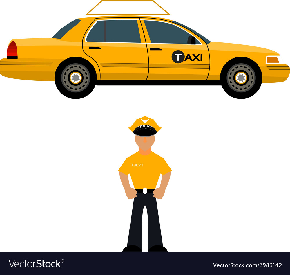 Taxi car and the taxi driver vector | Price: 1 Credit (USD $1)
