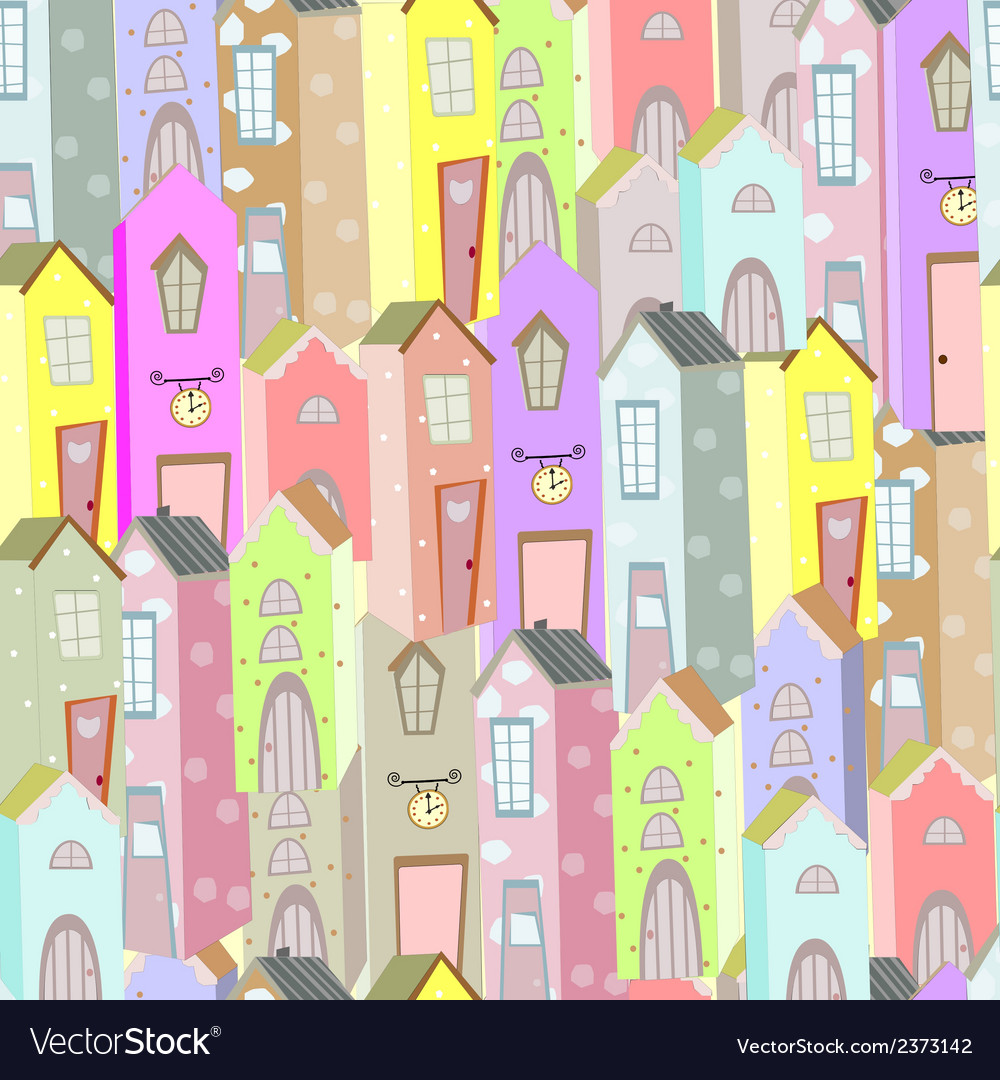 Town houses seamless pattern background vector | Price: 1 Credit (USD $1)