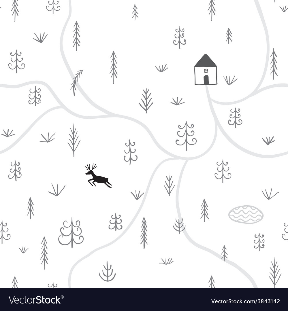 Treesdeer house seamless pattern vector | Price: 1 Credit (USD $1)
