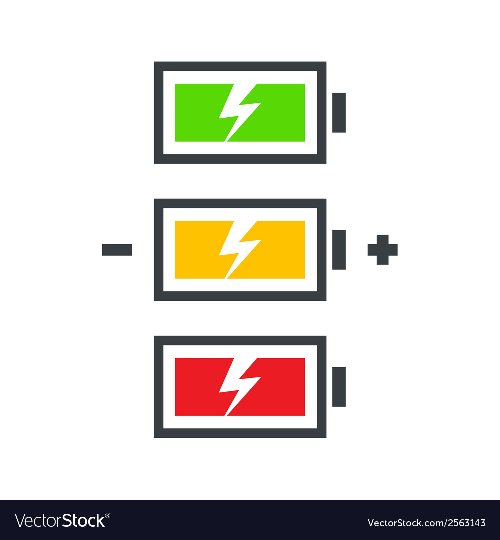Battery power icon set vector | Price: 1 Credit (USD $1)
