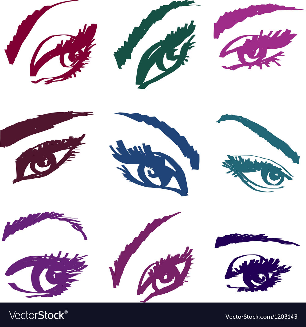 Beautiful girls eyes collection vector | Price: 1 Credit (USD $1)