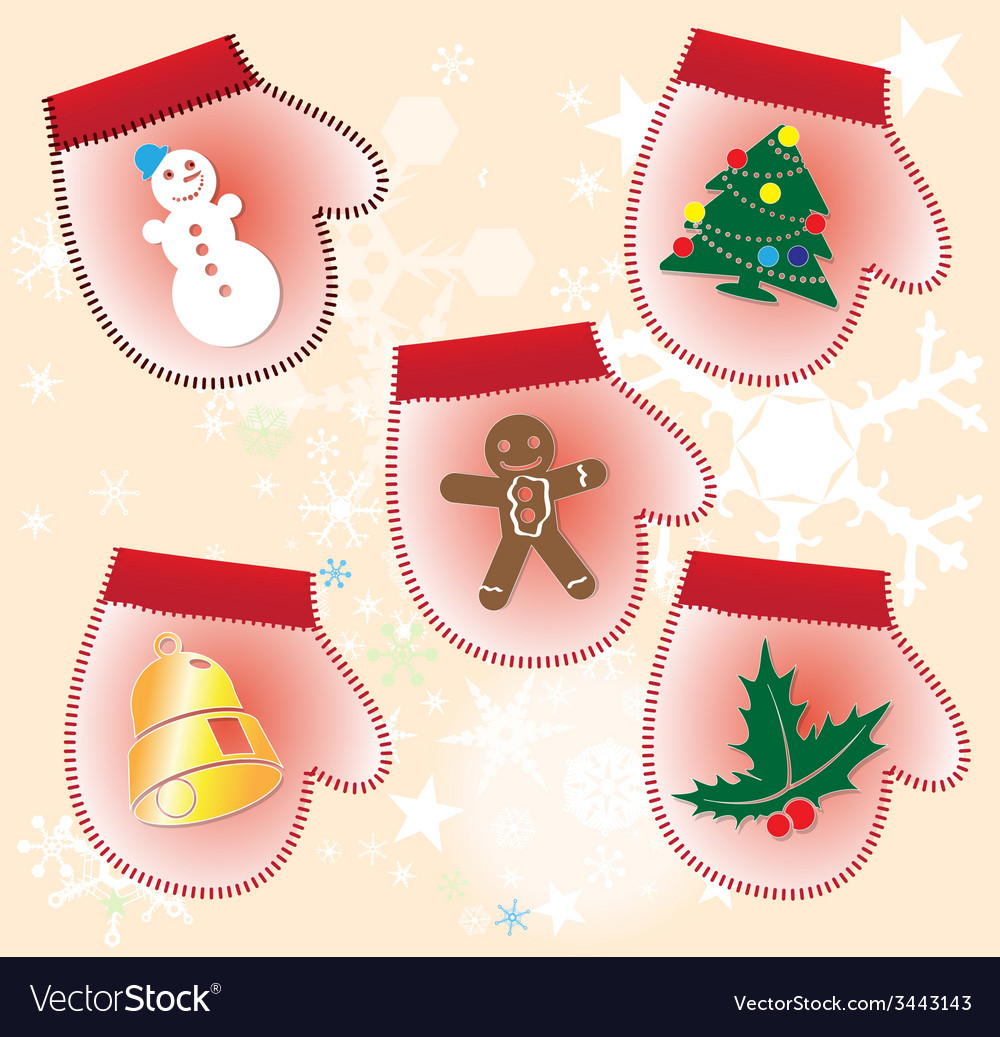 Christmas collection of gift gloves vector | Price: 1 Credit (USD $1)