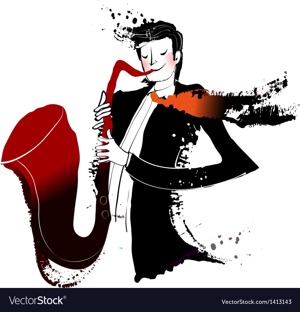 Close-up of man holding saxophone vector | Price: 3 Credit (USD $3)