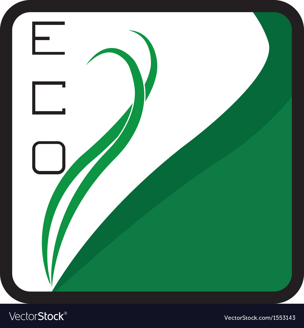 Eco logo square - green leaves vector | Price: 1 Credit (USD $1)