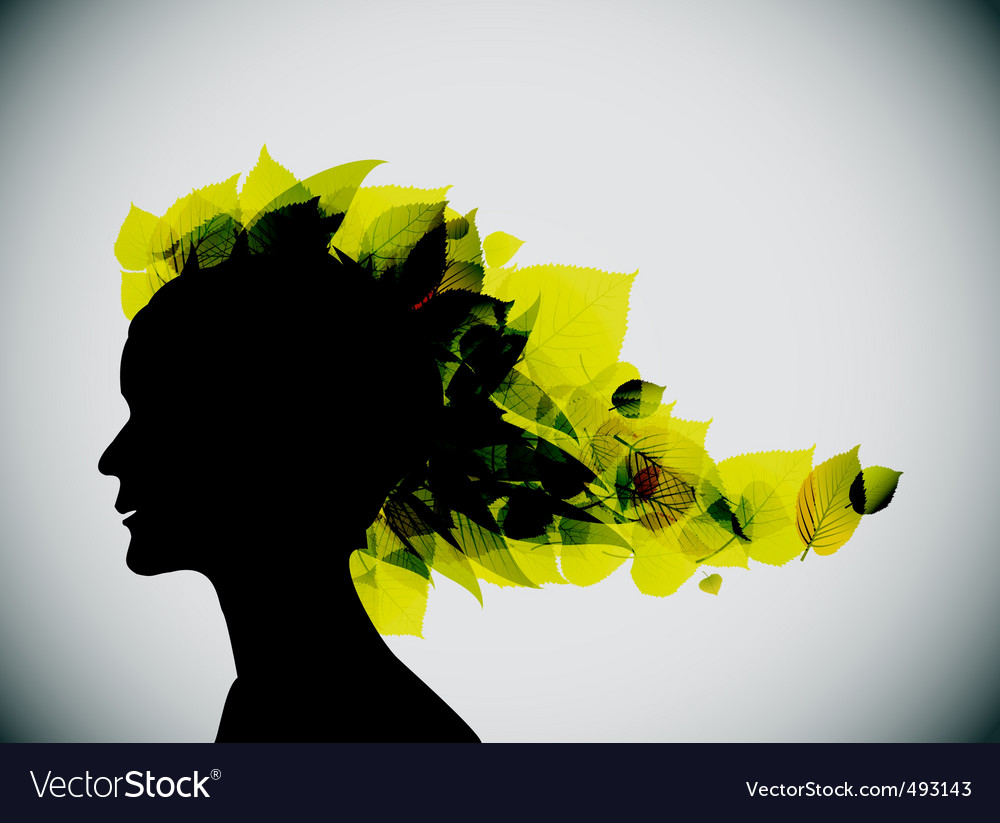 Girl's head silhouette vector | Price: 1 Credit (USD $1)