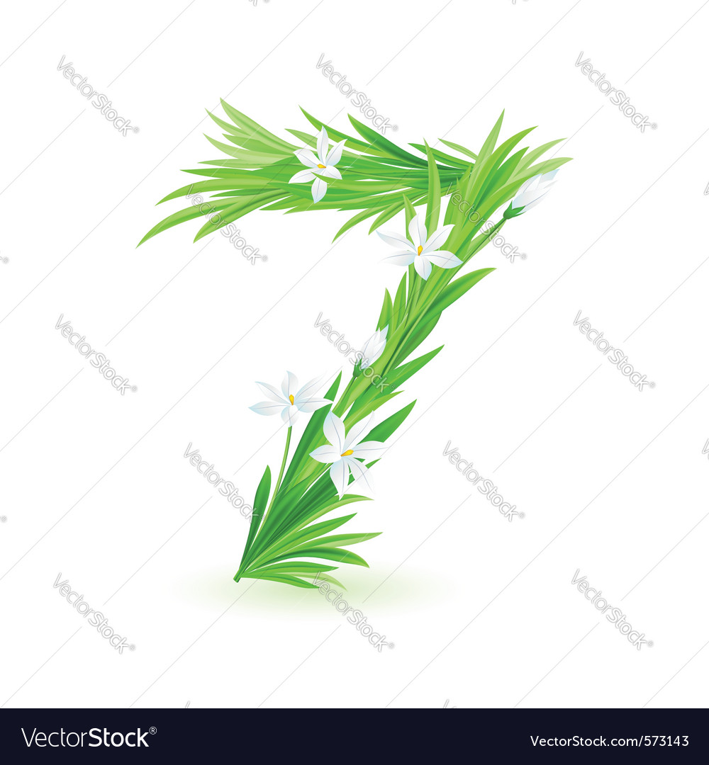 Grass letters number 7 vector | Price: 1 Credit (USD $1)