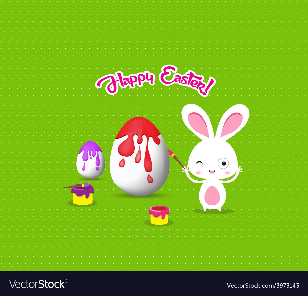 Happy easter with bunny eggs painting colorful vector | Price: 1 Credit (USD $1)