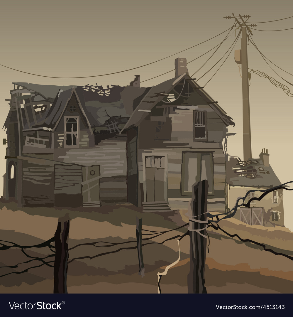 Old ruined wooden house vector | Price: 3 Credit (USD $3)