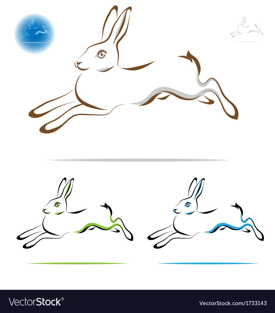 Running rabbit outline vector | Price: 1 Credit (USD $1)