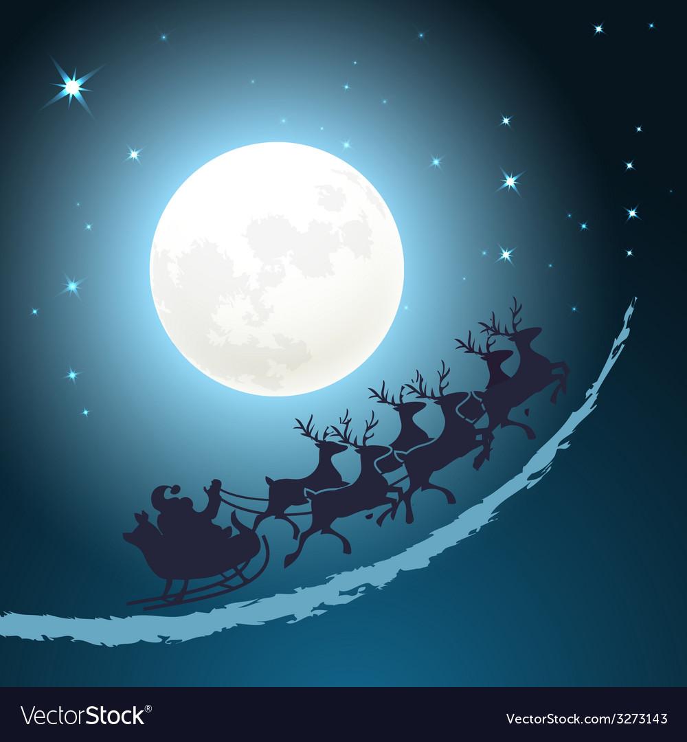 Santa on his sleigh christmas background vector | Price: 1 Credit (USD $1)