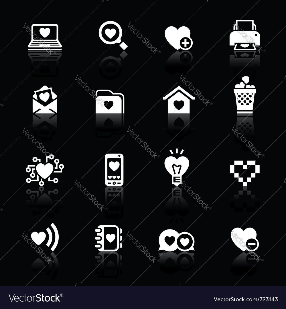 Set valentines day icons love on the internet symb vector | Price: 1 Credit (USD $1)