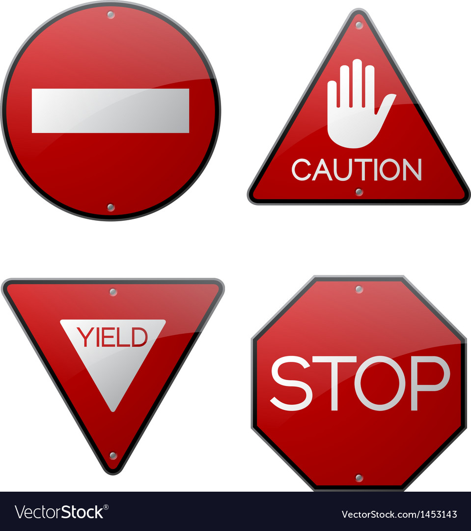 Stop caution yield do not enter signs vector | Price: 1 Credit (USD $1)