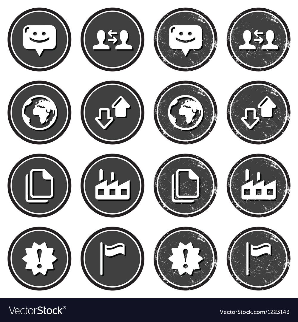 Web navigation icons on retro labels set vector | Price: 1 Credit (USD $1)
