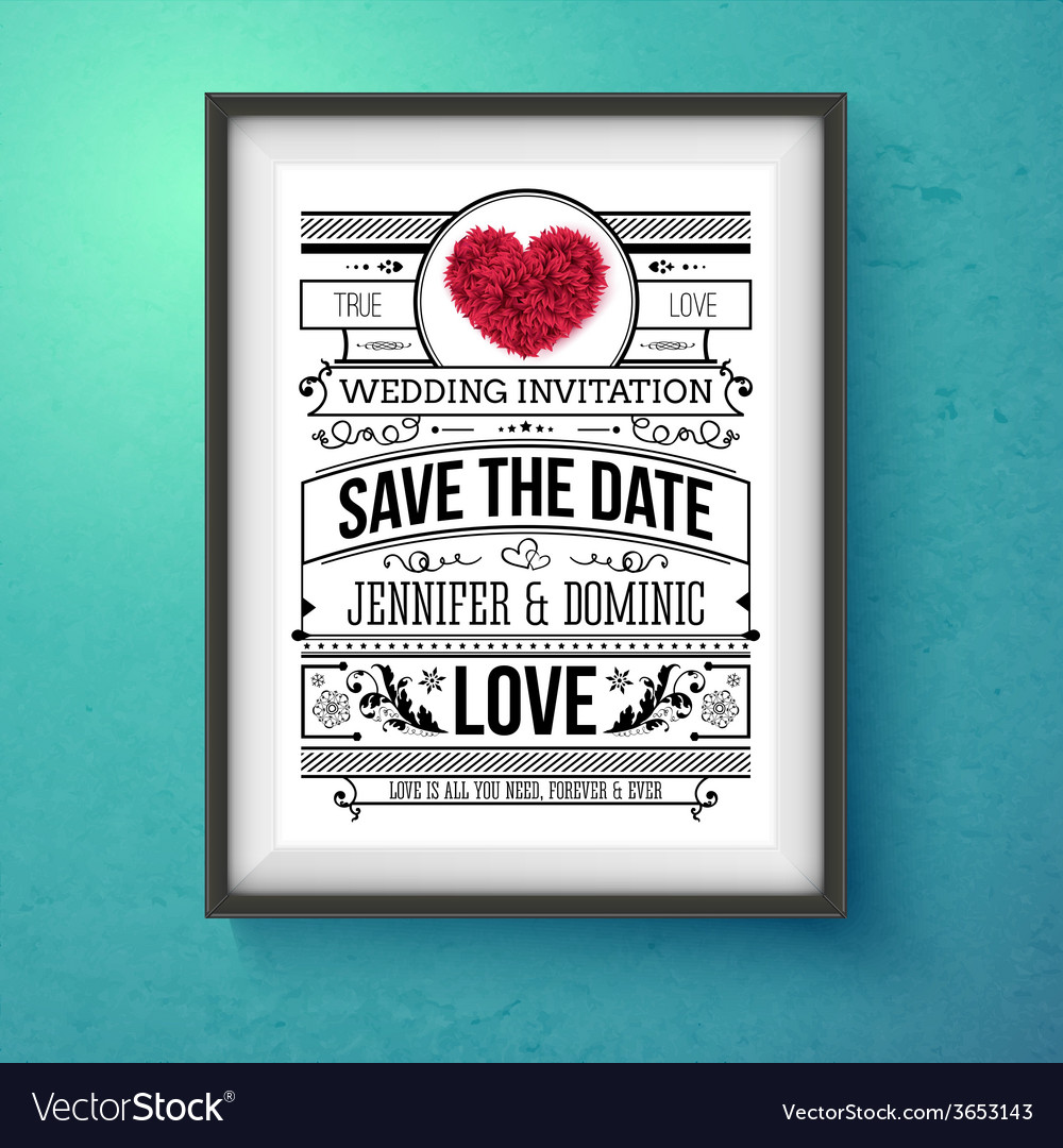 Wedding invitation concept design on frame vector | Price: 1 Credit (USD $1)