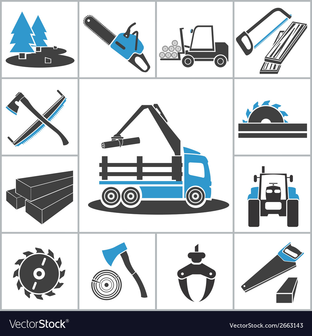 Woodworking industry icons vector | Price: 1 Credit (USD $1)