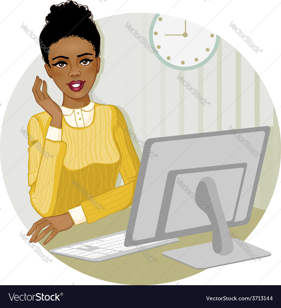 African american woman at the computer eps10 vector | Price: 1 Credit (USD $1)