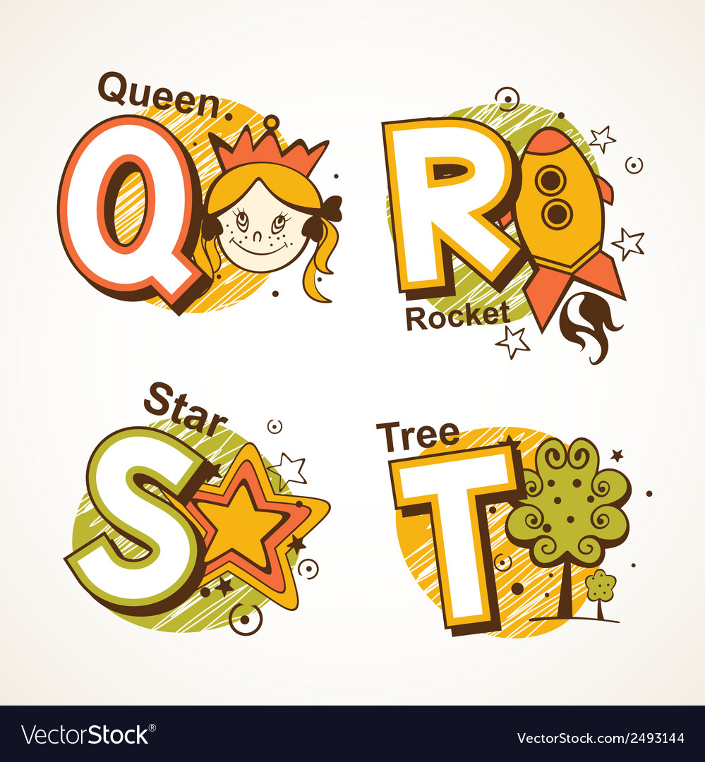 Alphabet set from q to t vector | Price: 1 Credit (USD $1)